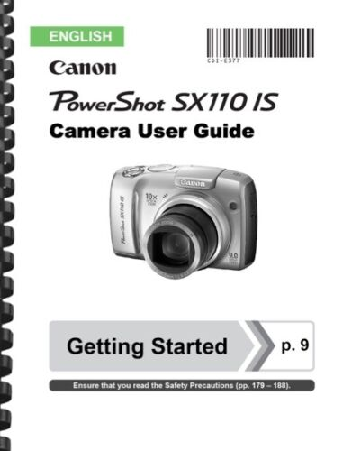Canon Powershot SX110 IS Camera User Guide Owner