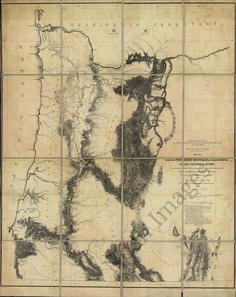 Northern boundary of California to the Columbia River OR c1859 repro 24x30