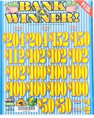 """Pull Tab Ticket """"BANK A WINNER"""" - BIG $$ PROFIT - FREE Shipping!"""
