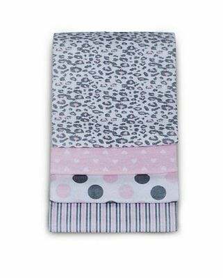 Carters Baby Girl 4 Pack Wrap Me Up Receiving Blankets Pink Cheetah