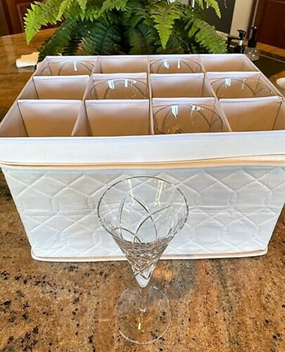 MILLER ROGASKA Crystal RAVELLO Water Goblets (6) WITH QUILTED STORAGE CASE!!