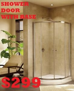 SHOWER DOOR.   BATHROOM VANITY