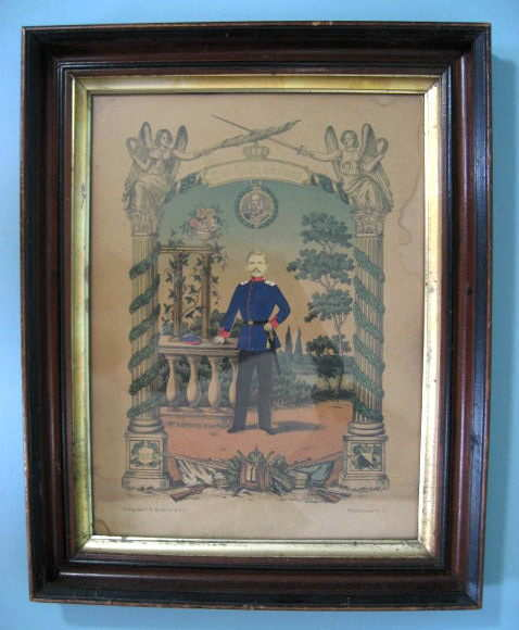 GERMAN 1875 MILITARY SOLDIER PICTURE IN FRAME ORIGINAL