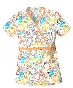 Scrubs-Cherokee-Print-Top-Peace-Love-Paisley-4788-PELV-FREE-SHIPPING