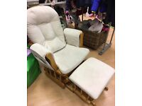 Glider rocking chair with matching foot stool