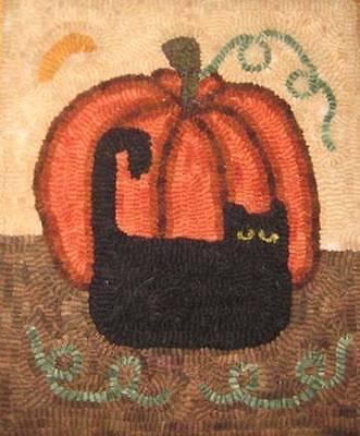 Primitive rug hooking kit, hooked, pumpkin cat, linen, wool