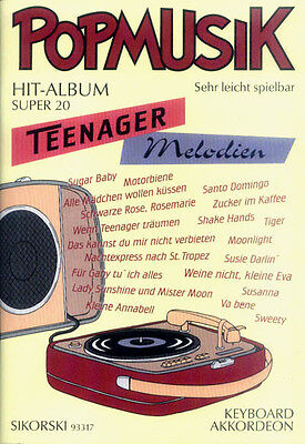 Pop Musik Hit Album Super 20 Teenager Melodien Noten Akkordeon Keyboard leicht