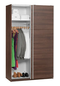 Pipari Sliding Double Wardrobe 120 x 200cm in Walnut