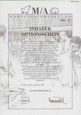 M/A Wertpapierhandel AG Frankfurt histor. Optionsschein 1990 Börse Aktien Hessen