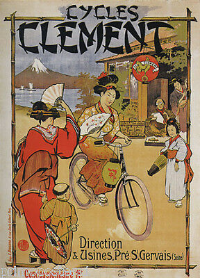 CYCLES CLEMENT JAPANESE RIDING BICYCLE MOUNT FUJI JAPAN VINTAGE POSTER REPRO