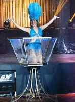 Burlesque Giant Martini Glass Show.  Champagne for your guests