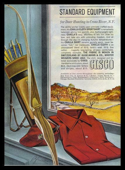 1962 Cisco PRINT AD Shirt Deer Hunting in Cross River, N.Y. Vintage Archery Bow