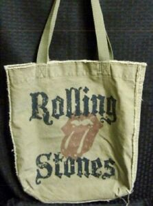 Rolling Stones Rustic Tote Beach Bag / Small  inside pocket