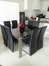 8 Seater Dinning Suite Black Glass and Silver. Mandurah Mandurah Area Preview