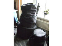 SET OF DRUM SOFT CASES BY PROTECTION RACkET FOR DRUM KIT Approx. 22/12/13/16/14
