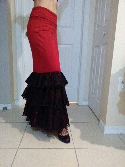 Red Flamenco Skirt with Lace Flounces