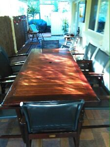 9 piece Wood Outdoor Dining Table & Chairs Helensvale Gold Coast North Preview