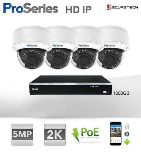 Compleet systeem 4 x 5MP 2K H.265 HD IP PoE Dome camera