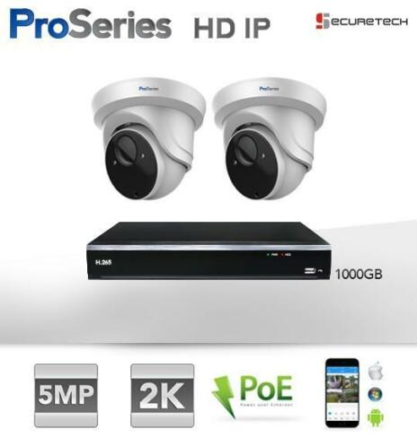 Compleet systeem 2 x 5MP 2K H.265 HD IP PoE Dome camera