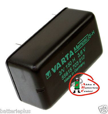 Varta Mempac 3/V150 Knopfzellen - Akku  / 3,6V / 150mAh NI-MH Print 2/2 pin ++-- - 3v Pin