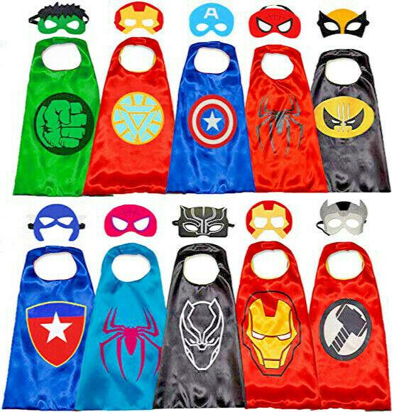 4 Superhero Capes Masks for Kids Super Heros Cosplay Costumes Halloween Dress Up