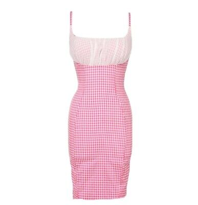 Pinup Girl Clothing Pink Gingham Evangeline Wiggle Dress XL With Belt Retro