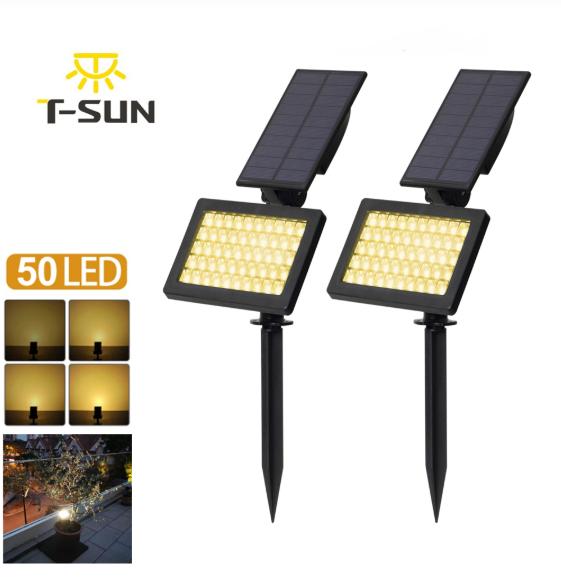 solar powered 50 led spotlight landscape lights