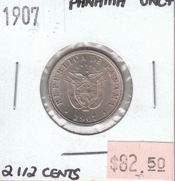 Panama 2 1/2 Centesimos 1907 UNC Uncirculated