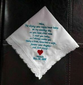 Custom embroidered wedding messages