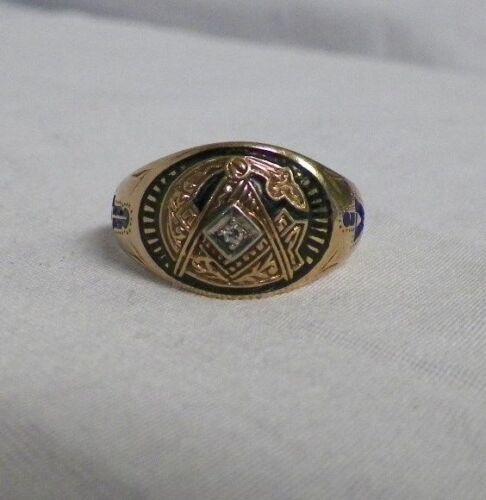 10K Gold Masonic Ring Mason Compass Black Size 11 Diamond G