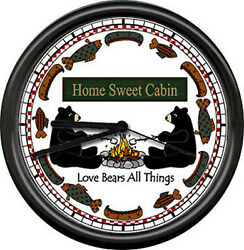Home Sweet Cabin RV Trailer Tiny House Personalzied Bear Decor Sign Wall Clock