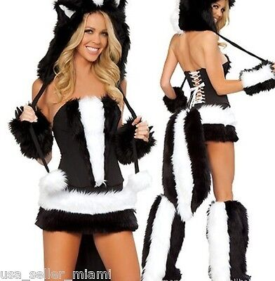 Sexy Skunk Halloween Costume -146- Cosplay Woman's Christmas Outfit Hat Small S](Halloween Skunk)