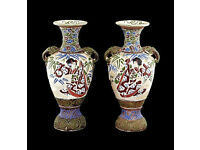 JAPANESE VASES - pair of antique porcelain vases - late 19th Century