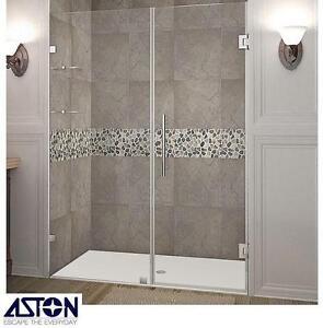 "NEW ASTON NAUTIS SHOWER DOOR KIT - 112160971 - 54"" x 72"" HINGED CHROME GLASS SHELVES FRAMELESS ENCLOSURE SHOWERS BATH..."
