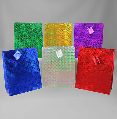 Hologram Gift Bags Large, 12 piece - Bulk Gift Bags