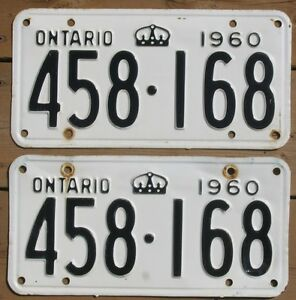 Set of 1960 licence plates - Ontario, Canada