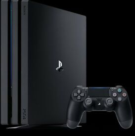 PlayStation 4 pro with dual shock controller and 2 games