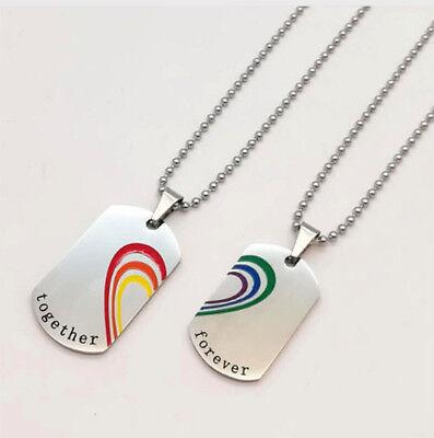 NEW Pride Pendant Stainless Steel LGBT Gay Pride Couples Necklaces 2-Necklaces - Gay Pride Necklace