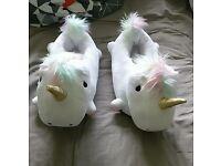 Unicorn slippers ( very new)