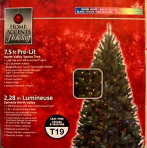 CHRISTMAS TREE  7.5' TALL WITH 500 DUAL COLOUR CHANGING LIGHTS