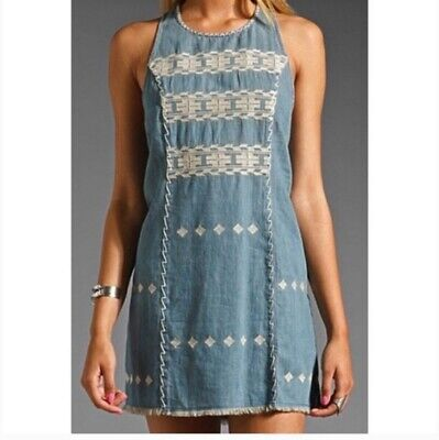 NEW Free People Tribal Embroidered Chambray Dress Large L Jean Denim Boho NWOT