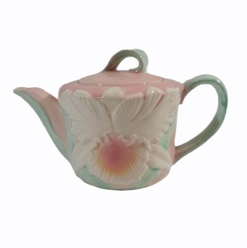 Vintage Otagiri Figi Graphics Porcelain Raised Iris Pastel Tea Pot Pottery