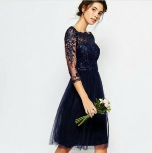 New Chi Chi Navy Lace trim Dress