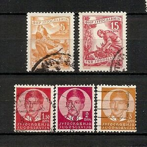 YUGOSLAVIA 1935-1952, 5v usati (pha052) - Italia - YUGOSLAVIA 1935-1952, 5v usati (pha052) - Italia