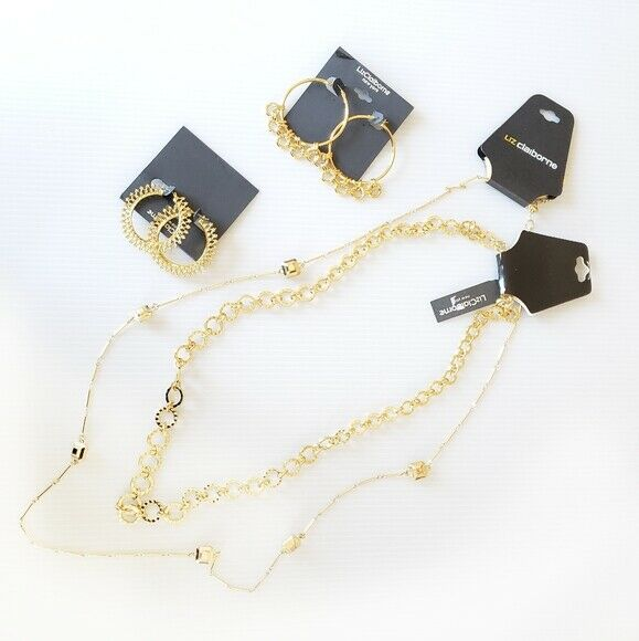 $114 New LIZ CLAIBORNE Necklace Earring Sets Long gold Tone