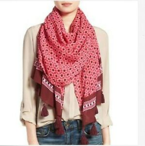 Kate Spade New York NWT Moroccan Tile Tagine Pink Oblong Wrap Scarf Shawl $98