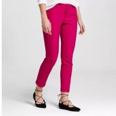 And A New Day Magenta Pants Slim Ankle Fitted Thru Hip Thigh Crepe Stretch Crop