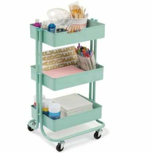 3-Tier Rolling Mint Rolling Cart Storage Classroom Class Art Craft Organizer