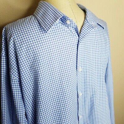 Nordstrom | Mens Neck Size 17.5 Arm 34-35 Blue White Gingham Print Dress Shirt Dress Shirt Neck Size