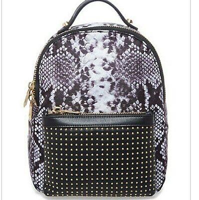 NWT B BRIAN ATWOOD Studded Snakeskin Python Animal Back Pack Bag Blk/wte - Black Snakeskin Backpack